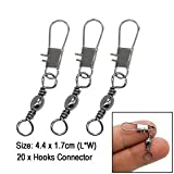 20PCS Grey Fishing Line to Hook Clip Connector Swivels