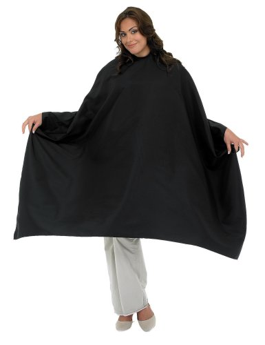 A Size Above Styling Cape with Snap Closure, Black