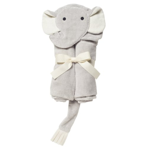 Elegant Baby Bath Time Gift Hooded Towel, Gray Elephant