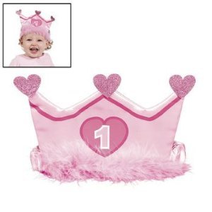 1st Birthday Girl Crown Headband - 1