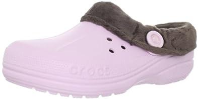 Crocs Unisex Blitzen Polar Fleece Clog,Bubblegum/Espresso,Men's 11 M/Women's 13 M