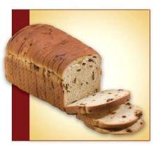 Flowers Foods European Bakers Sliced Cinnamon Raisin Sandwich Bread Loaf, 3/8 inch -- 12 per case.