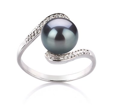 PearlsOnly Chantel Black 9-10mm AA Freshwater Sterling Silver Pearl Ring