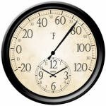 Home - Springfield Decorative 14-Inch Patio Thermometer with Clock