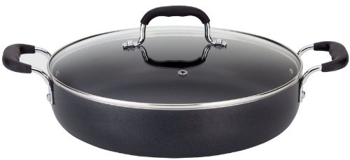 T-fal A84284 Nonstick Deep Covered Everyday Pan with Silicone Loop Handles Cookware, 12-Inch, Black