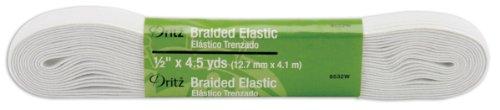 Fantastic Deal! Dritz 9532W Braided Elastic, White, 4-Yard by 1/2-Inch
