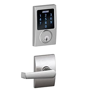 Schlage FBE469NX ELA 626 CEN Touchscreen Deadbolt with Z-Wave Technology, Built-In Alarm, and Passage Lever with Decorative Trim, Satin Chrome