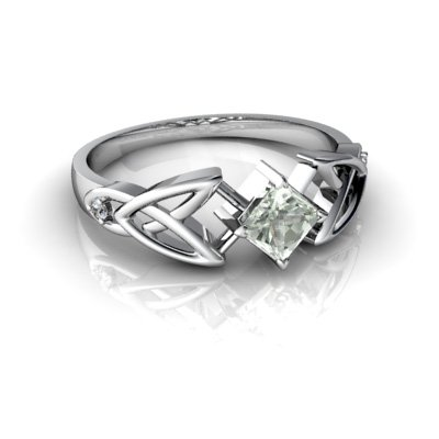 14kt White Gold Green Amethyst and Diamond 4mm Square Celtic Trinity Knot Ring - Size 7