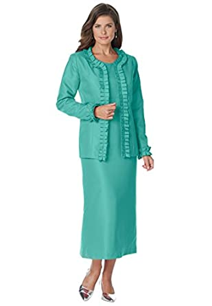 Roamans Women's Plus Size Pleated Jacket Dress (Aquatic Green,14 W)