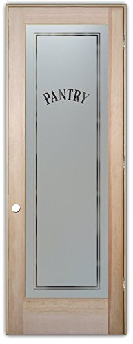 Pantry Door - Sans Soucie Etched Glass Interior Door, Doug Fir, Classic Design 24 in. x 80 in. Prehung Left Hand Out Swing 4-9/16 in. Matching Jamb. (Interior Glass Slab Door compare prices)
