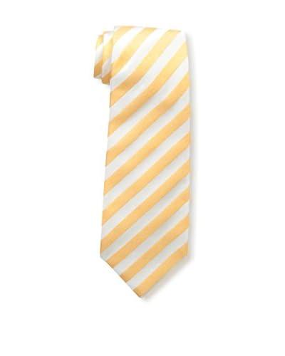 Kiton Men's Silk Tie, Light Orange/White