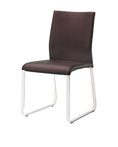 Furniture Contempo Set of 2 Lenny Dining Chairs, Brown/Chrome