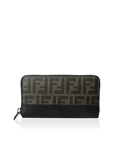 Fendi Men's Zucca Coated Canvas Continental Travel Wallet, Tobacco/Black