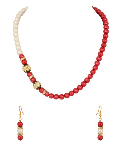 Voylla Pearl Necklace Set with Two Round Cz Studded Dholki, Red Pearl Beads (white)