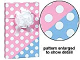 New Trendy Reversible Pink or Blue Polka Dot Baby Girl or Boy Gift Wrap Wrapping Paper 16 Foot Roll