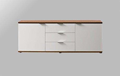 Sideboard-Kommode-Anrichte-Schrank-2-Tren-3-Schubladen-Nussbaum-Wei