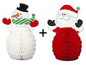 Mini Santa x 4 and Mini Snowman x 4 honeycomb decoration set