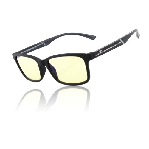 DUCO New Design Video Gaming Glasses with Amber Tint Lens TR90 Arms Matte Black Frame Inner Gray legs 224