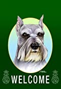 Schnauzer (1) Dog - Tomoyo Pitcher Welcome Flowers Garden Dog Breed Flag 12'' x 17''