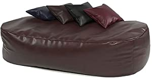 XXX-L HUGE 16cu FT BROWN FAUX LEATHER BEANBAG BED BEAN BAG SOFA BED