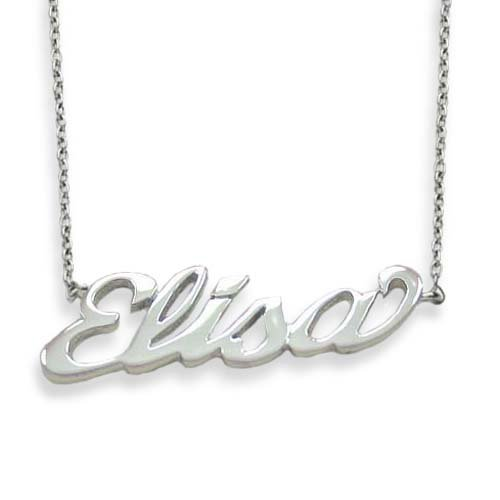 Flores Ladies' Necklace in White 925 Silver, form Letter, line Names, weight 10 grams