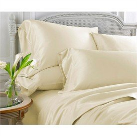 Grandeur Linens 300 Thread Count Three (3) Piece Queen Size Ivory Solid Duvet Cover Set, 100% Egyptian Cotton, Deep Pocket front-289942