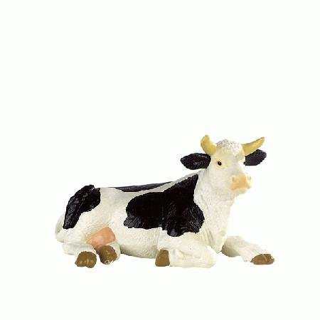 Bullyland Black & White Holstein Cow Lying Down