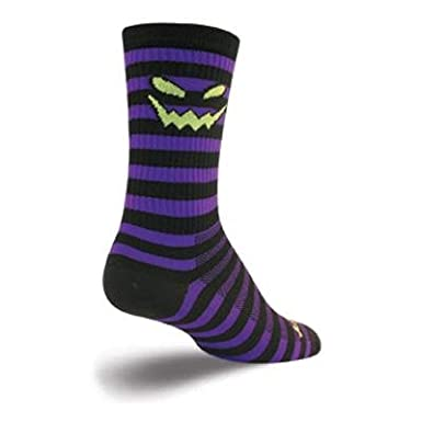 jack-o-lantern pumpkin cycling sock with black and purple stripes