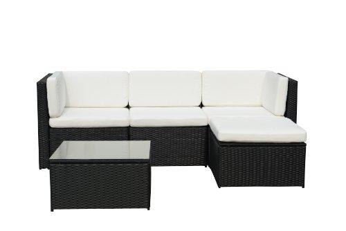 GARTENFREUDE-Gartenmbel-Lounge-Gartenset-Garnitur-Sitzgruppe-Polyrattan-13-teilig-Aluminiumgestell-schwarz-im-eleganten-4-Faser-Design-wetterfest-inklusive-Kissen