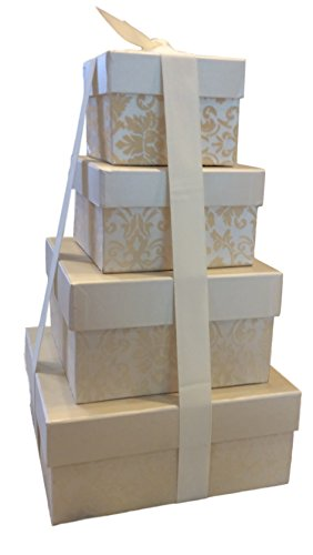 Nesting Gift Boxes with Lids - 4 Assorted Sizes for Candy Treat Tower - Includes Ribbon (Cream)