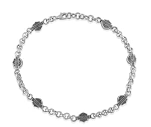 Harley-Davidson® MOD® Women's Sterling Silver Anklet with Double Sided Bar & Shield Logos and adjustable chain links from 9.5