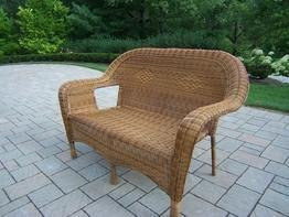 Oakland Living Resin Wicker Loveseat, Natural picture