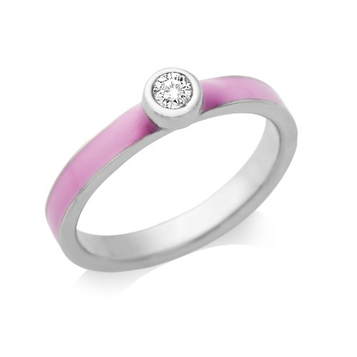 By Joy Ladies' Sterling Silver Zirconia Engagement Ring with Pink Enamel Shoulders- Size Q