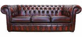 Chesterfield 3Seater antiguo rojizo Piel sofá oferta