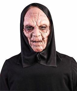 Scary Black Hooded Grim Reaper Mask Latex Halloween Horror Adult Men Women (Horror Flesh Grey Makeup)