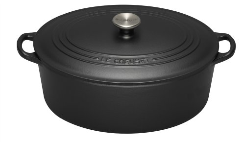 Le Creuset Cast Iron Oval Casserole, Satin Black, 31 cm