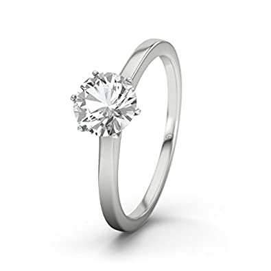 21DIAMONDS Hawaii White Topaz Brilliant Cut Women's Ring 14 Carat (585) White Gold Engagement Ring