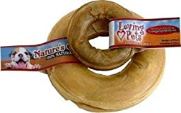 Loving Pets DLV4720 10-pack Natures Choice Natural Pressed Rawhide Donuts for Dogs, 6-Inch