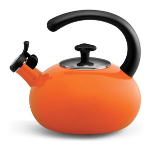 New Rachael Ray Teakettles 2-Quart Porcelain Curve Kettle (Orange)