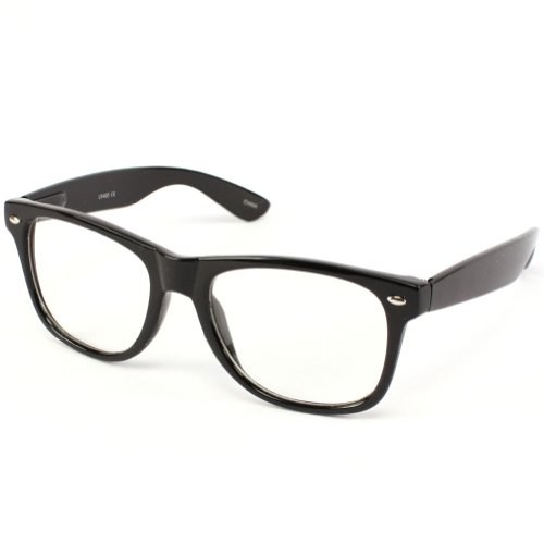 Retro Clark Kent Clear Lens Wayfarer Eye Glasses Black