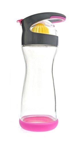 Full Circle Wherever Water Lemon Water On-The-Go Glass Bottle 20-Ounce, Raspberry Pink, Fc12501P front-308977