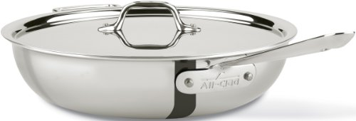 All-Clad 440465 Stainless Steel Tri-Ply Bonded Dishwasher Safe Weeknight Pan with Lid / Cookware, 4-Quart, Silver (All Clad Saucier Pan compare prices)