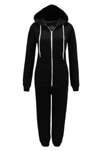 PARADIS COUTURE LADIES PLAIN PLAYSUIT ALL IN ONE HOODED JUMPSUIT BLACK SIZE ML