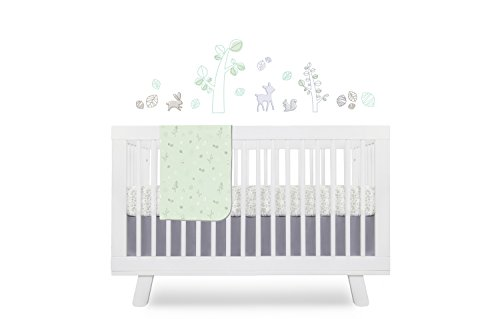 Babyletto Tranquil Woods 4-Piece Set Crib with Sheet Skirt, Stroller Blanket and Wall Decals