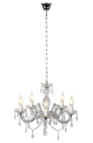 Lucide 78351/05/60 Arabesque - Lampadario a 5 luci, 5 x E14, 40 W, colore: Trasparente