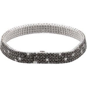 Black And White Diamond Bracelet With Black Rhodium Plating 14K White Gold 8 5/8 Ct Tw Black & White Diamond Bracelet W/Black Rhodium Plating
