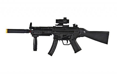 Silenced Mp5 With Working Flashlight Toy Gun For Kids, Makes Noise, Vibrates, Lights Up