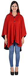 Akshay Women's Woolen Cape (Red and Black)