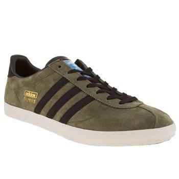 Adidas Original Gazelle OG Olive Black White Suede New Mens Trainers Shoes Boot-12.5