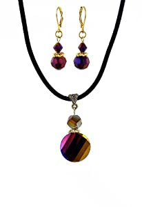 Faceted Fire Polished Glass Pendant AND matching Earrings (527)